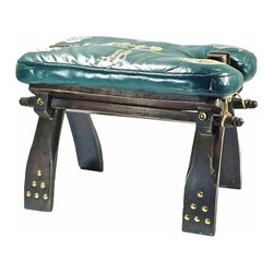 Antique Camel Saddle - Small antique camel saddle, c. 1900-1910, with brass accents and leather saddle cushion. Folds with brass hinges for portability.