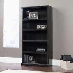 "Sauder - Storage Five Shelf Bookcase - Features: -Bookcase. -Available in cinnamon cherry, abbey oak, oiled oak or jamocha wood finish. -Five shelves. -Three adjustable shelves. -Patented slide on moldings. -Assembly required. -Manufacturer provides 5 year warranty. -Overall dimensions: 69.75""H x 35.25""W x 13.25""D."