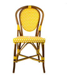 Yellow & White Mediterranean Bistro Chair - These rattan-framed stools are part of the iconic French bistros of Le Midi, or the south of France. Hand-woven and artisan crafted, these French style bistro bar stools in bright synthetic material, will add a pop of color to your outdoor or indoor space.