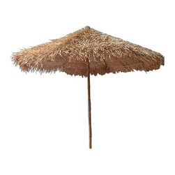Bamboo54 - 5 ft. Thatched Umbrella for Patio or Beach - Your weekends will get nicer relaxing under the shade of this umbrella. Create great shade along with protection from UV rays. Escape from the sun and rain as you luxuriate under this umbrella. This bamboo umbrella will add a tropical look to your deck or patio. Rugged natural bamboo construction makes it ideal for indoor or outdoor settings. * Made of Bamboo and Grass. 5ft. thatched umbrella. 104 in. height from bottom of pole to top. 89 in. height from bottom to edge of thatch. Pole Diameter 2.5 in.