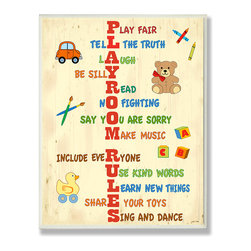 Stupell Industries - Playroom Rules Acrostic Typography - Treat your home to some style with one this decorative wooden wall plaques.    It is produced on sturdy half-inch thick MDF wood, and comes with a saw tooth hanger on the back for instant use.  The sides are hand finished and painted so a perfect crisp look.  MADE IN USA.
