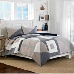 Nautica - Nautica Seaview Quilt - Create a tranquil, rejuvenating getaway in your bedroom with the Seaview quilt by Nautica. This beautiful quilt is adorned with a neutral, soothing spa-like palette inspired by nautical signal flags, giving it a rich dimension and smart, abstract look.