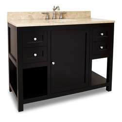 Hardware Resources - Astoria Modern Jeffrey Alexander Vanity  48 x 22 x 36 - This 48 inch wide solid wood vanity features clean lines with a stepped door and drawer profile for a modern look.  The deep Espresso finish and satin nickel hardware complement the modern look. With four working drawers  two on each side of a large cabinet with adjustable shelf  and open bottom shelves flanking the center cabinet  this vanity features ample storage space.  Drawers are solid wood dovetailed drawer boxes fitted with soft close full extension slides and the cabinet features integrated soft close hinges.  This vanity has a 2.5CM engineered Emperador Light marble top preassembled with an H8810WH (17 x 14) bowl  cut for 8 faucet spread  and corresponding 2CM x 4 tall backsplash.   Overall Measurements: 48 x 22 x 36 (measurements taken from the widest point) Finish: Espresso Material: Wood Style: Transitional Coordinating Mirror(s): MIR092 24  MIR092 30 Bowl: H8810WH Coordinating Hardware: 3915 SN