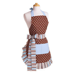 Flirty Aprons - Blue Chocolate Women's Original Flirty Apron - The Original Blue Chocolate apron was inspired by candy shops. This apron is perfect for any baker with double layers and a long-lasting,fashionable design. The thick striped ties complete the design by allowing you to adjust the fit to any size.