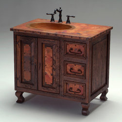 Old World Copper Vanity - Reclaimed wood and copper are combined for a unique Old World style vanity for Rustic, Tuscan, Mediterranean, ranch & western decors. Custom sizes and layouts available. Visit www.woodlandcreekfurniture.com to see many more photos of unique vanities.