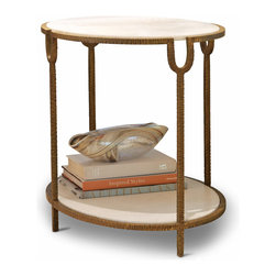 Kathy Kuo Home - Katherine Hollywood Regency Ivory Stone Oval Side End Table - This is the perfect, petite end table for festivities with friends and family. The polished ivory, oval stone tiers are surrounded with hand-hammered, distressed antique iron framing and delicate legs. This romantic table blends Old Hollywood luxury with modern style for a fashionable accent table in any room.