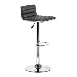 ZUO MODERN - Equation Barstool Black - Sleek and sexy, the Equation Barstool completes any modern space.  It has a leatherette seat and chrome height adjustable swivel base.