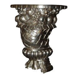 Hickory Manor House - Fruit & Lace Bracket in Gilt Silver Finish - Vintage original. Custom made by artisans unfortunately no returns allowed. Enhance your decor with this graceful bracket. Made in the USA. Made of pecan shell resin. 10 in. W x 5 in. D x 11.5 in. H (6 lbs.)