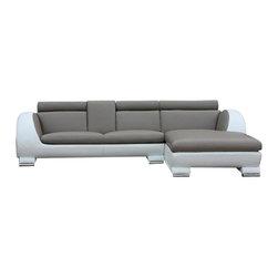 VIG Furniture - Gento - Modern White/Grey Sectional Sofa - Modern White/Grey L Shape Sofa