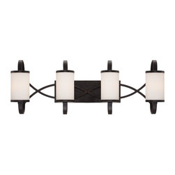 Designers Fountain - Designers Fountain Bellemeade Bathroom Lighting Fixture in Artisan - Shown in picture: Bellemeade 4 Light Bath Bar in Artisan finish with White Opal Style glass