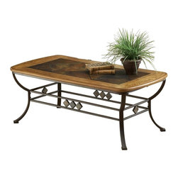 Hillsdale Furniture - Lakeview Cocktail Table in Medium Oak Finish - Base frame with legs. Wood/slate top with top ring. Medium Oak incised wood color. Rustic textures and colors. 48 in. W x 24 in. D x 18 in. HThis wonderful collection boasts a striking fusion of �� Medium Oak wood, Coppery Brown metal, and a dynamic slate motif. Composed of heavy gauge tubular steel, solid wood edges, climate controlled wood composites and veneers, this unique group is a perfect addition to your home.