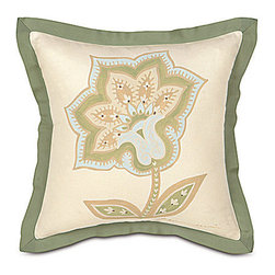 Frontgate - Southport Handpainted Pillow - From Eastern Accents. Reversible duvet cover features decorative fabric, with beautiful piecing and trimmings, and reverses to a cream colored fabric called Komodo Cotton. Button-tufted and hand-tacked comforters have two layers of decorative fabric with polyester batting secured inside to prevent shifting. Bed skirt has split corners and kick pleats. Dry clean only recommended. Demure elegance and a soft color palette characterize the Southport Bedding Collection. A feminine paisley pattern pairs with cotton and matelasse fabrics, and the gorgeous pillows feature unique designs.  .  .  .  .  . Because this bedding is specially made to order, please allow 4-6 weeks for delivery.. Made in USA of imported goods. Part of the Southport Bedding Collection.