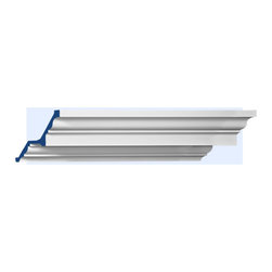 """Inviting Home - Slater Small Crown Molding in 14 foot lengths - Small Slater crown moldings 4-7/8""""H x 4-7/8""""P x 6-7/8""""F x 14'00""""L molding sold in length of 14 foot 4 piece minimum order required crown molding specifications: - outstanding quality crown molding made from high density polyurethane: environmentally friendly material is hypoallergenic and fully recyclable no CFC no PVC no formaldehyde; - front surface of this molding has extra durable and smooth surface; - crown molding is pre-primed with water-based white paint; - lightweight durable and easy to install using common woodworking tools; - metal dies were used for consistent quality and perfect part to part match for hassle free installation; - this crown molding has sharp deep and highly defined design; - matching flexible molding available; - crown molding can be finished with any quality paints; Polyurethane is a high density material--it's extremely lightweight and easy to install (and comes primed and ready to paint). It is a green material meaning its CFC and formaldehyde free. It is also moisture resistant--so it won't shrink flex or mold. What's also great about Polyurethane is that it's completely customizable and can be treated as wood (you can saw it nail it screw it and sand it). In addition our polyurethane material comes primed and ready to paint. There is a four piece minimum requirement for this molding purchase."""