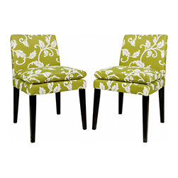 ANGELOHOME - Portfolio Orion Leaf Green Upholstered Dining Chairs (Set of 2) - Create a lively atmosphere with these floral-patterned upholstered dining chairs. The green-and-white colored upholstery combined with the dark espresso finish for the frame gives these chairs an inviting aura that your house guests will appreciate.