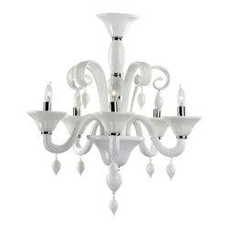 Cyan Design - Cyan Design Five Lamp Chandelier in White - Five Lamp Chandelier in White with Candle Shaped Bulbs.