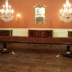 Large Mahogany Antique Reproduction Dining Table (LH 4 3B) - Fully extended, this table reaches 13 feet and can sit 14 - 16 people.