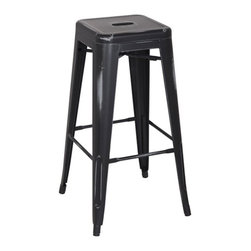 "Office Star - Office Star Bristow 30"" Antique Metal Barstool in Antique Black (Set of 2)-Set o - Office Star - Bar Stools - BRW3030A4AB - Unique modern metal chair that will get your guests talking for months. Stop playing safe and get ready to wow the crowd. These metal chairs are designed to be make your feel special. Backless design for simplicity and easy storage. Place this chair anywhere in your lovely home to receive instant compliment."
