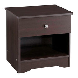 Nexera - Pocono 1 Drawer Nightstand in Espresso Lamina - 1 Drawer. Made of engineered wood. Assembly required. 21 in. W x 17 in. D x 21 in. H (28 lbs.)The Pocono Collection from Nexera offers you the best of both worlds with extensive storage space and great trendy style. The Espresso Laminate Finish gives this collection a timeless look while the multiple shelves and drawers will keep all your belongings organized.