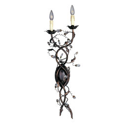 Elegante-Wall Sconce - One of our most popular collections, Elegante combines lighting with decorating. Delicate leaves and crystals top the wrap-around vines. Offered in Etruscan Gold or Oil Rubbed Bronze.