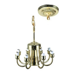 Meyda Tiffany - Chandelier Ceiling Light Kit - Includes canopy. Requires eight 25 watts candelabra X8 type bulbs. 4 ft. wire. Suitable for dry location. Polished brass color. 12 in. Dia. x 17.5 - 50 in. H. Care Instructions