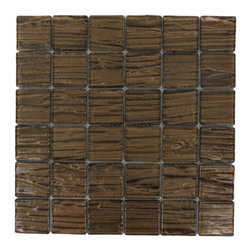 Terrene Copper Beech 2x2 Glass Tile - TERRENE COPPER BEECH 2x2 GLASS TILE This striking glass can make any room aesthetically appealing. The wavy finish brings a distinctive design and will add a nice touch for a contemporary and modern room. This tile is great to use for the bathroom, kitchen or pool installation. Chip Size: 2x2 Material: Glass Color: Metallic Copper Finish: Polish Sold by the Square foot - each sheet measures 12x12 (1 sq ft) Thickness: 3mm - Glass Tiles -