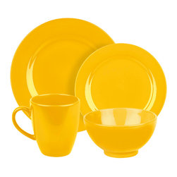 Waechtersbach - Fun Factory Place Setting, Buttercup, 16 Piece - Bring contemporary style to your table with the Fun Factory Buttercup 16-Piece Place Setting. Combining clean lines with solid color, this casual dinnerware set was created with everyday meals in mind. Service for four. Includes dinner plate, salad plate, soup/cereal bowl, and mug.
