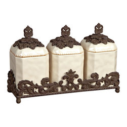 """19.5""""H Triple Canister Set - Canister Set of 3, Cream Ceramic w/Brown Metal Base, 19.5in x 6.5in x 13in H, Care: Ceramic is dishwasher safe, but recommend to handwash ceramic with attached metal parts in mild soap and dry with a soft cloth"""