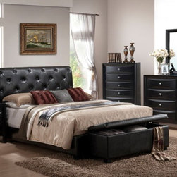 POUNDEX Furniture - Eastern King Bed In Black Faux Leather Finish - F9157EK - Eastern King Bed