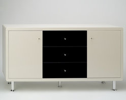 Chintaly Imports - Deborah Modern High Gloss Lacquer Buffet - Beautiful modern buffet cabinet. Features 3 drawers and 2 side cabinets. The drawer fronts are in High Gloss Black and the doors, top, sides and back are in High Gloss Beige. There a 2 frosted glass shelves. It has 5 aluminum legs.