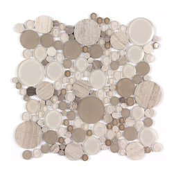 Stone & Co - Timber White Marble and Glass Mix Bobble Circle Glass Mosaic Tile - Finish: Polished / Shiny