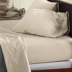Garnet Hill - Garnet Hill Signature Cotton Flannel Sheets - California King - Fitted - Oatmeal - This Signature Flannel bedding is crafted in Germany with a tighter weave than most flannels, making it weightier and more durable. It is gently brushed multiple times on each side until it meets our exacting standards for softness. Cases have an inner flap to conceal the pillow for a neater, more finished look. Our universal fitted sheet is elasticized all the way around for an easier fit. 12-inch pocket depth. Monogramming available.
