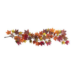 Nearly Natural - 60in. Maple Leaf Garland - The chill in the air, the bountiful harvest, falling leaves - it's unmistakably Autumn. At least that's how you'll always feel with this colorful 60' Maple Leaf Garland. Littered with the multicolored hues that define Maple Leaves in Fall, this Garland perfectly captures what we love about Autumn. And hey, leave one up all year round' so it's always fall somewhere (after all, these won't dry out).