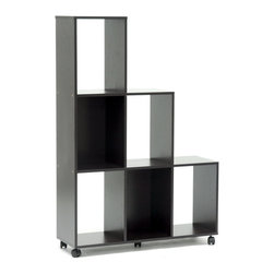 Baxton Studio - Baxton Studio Hexham Rolling Display Shelving Unit - Large enough to serve as a room divider but small enough to avoid obstructing the view, the Hexham Display Shelf serves whatever purpose your needs call for. The shelving unit features six rectangular compartments formed from dark brown paper veneer-finished lapped chipboard as well as black plastic caster wheels for easy mobility. The unit works equally well against a wall as it does in the center of a room as a divider. To clean, wipe the unit with a damp cloth. Made in Malaysia; assembly is required. Note: the back is not veneered and has an unfinished appearance.