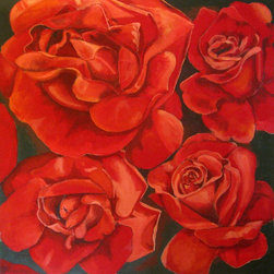 "Original Painting, Large size Painting, Uncensored Roses, only Red, Huge Flowers - ""Uncensored Roses"" is an extra large canvas of 58""x58""."