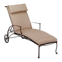 Woodard - Woodard Maddox Adjustable Chaise Lounge Multicolor - 7F0070 - Shop for Chaise Lounges from Hayneedle.com! The Woodard Maddox Cushion Adjustable Chaise Lounge is a beautiful wrought iron lounge perfect for relaxing and reading a book. Adjustable settings let you lock this lounge into several sitting or lying positions so you're always comfortable.Available in your choice of colors the Maddox is made of high-quality metal using traditional forging techniques. A powder-coat finish is durable and weather-resistant. The cushion attaches to the frame via matching tabs and is available in a wide range of fabrics. The Woodard Maddox Adjustable Chaise Lounge is built with exceptional craftsmanship and quality components for years of enjoyment.Important NoticeThis item is custom-made to order which means production begins immediately upon receipt of each order. Because of this cancellations must be made via telephone to 1-800-351-5699 within 24 hours of order placement. Emails are not currently acceptable forms of cancellation. Thank you for your consideration in this matter.Hand-crafted to Withstand the Test of TimeFor over 140 years Woodard craftsmen have designed and manufactured products loyal to the timeless art of quality furniture construction. Using the age-old art of hand-forming and the latest in high-tech manufacturing Woodard remains committed to creating products that will provide years of enjoyment.Superior Materials for Lasting DurabilityEach piece in the Classics Collection is hand-formed using solid wrought iron stock: the heaviest available. The technique used to create Woodard wrought iron furniture has been handed down from generation to generation. To this day expert workers use anvils and hammers to forge intricate detail in the iron.Fabric Finish and Strap FeaturesAll fabric finish and straps are manufactured and applied with the legendary Woodard standard of excellence. Each collection offers a variety of frame finishes that seal in quality while providing color choices to suit any taste. Current finishing processes are monitored for thickness adhesion color match gloss rust-resistance and proper curing. Fabrics go through extensive testing for durability and application as well as proper pattern weave and wear.