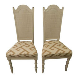 "Pair of Vintage Dining Chairs - Look how great these vintage dining chairs look! We gave them a full face lift with a little Botox added! They are ready for their second phase! They are sturdy and fabulous! They have new paint and new tone on tone tan Greek Key fabric! I love the rattan backs and the faux bamboo legs! These a must for anyone! Vintage treasures 101!  Their seats measure at 19"" high."