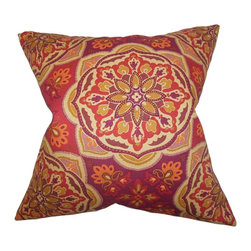 The Pillow Collection - Luana Floral Pillow Purple - Made of 100% soft cotton material, this throw pillow perfectly accents any of your furniture. With a bright floral pattern in shades of red, orange, purple and yellow, this toss pillow is a scene-stealing statement piece. Combine with solids and other patterns for a fun and unconventional decor style. Hidden zipper closure for easy cover removal.  Knife edge finish on all four sides.  Reversible pillow with the same fabric on the back side.  Spot cleaning suggested.