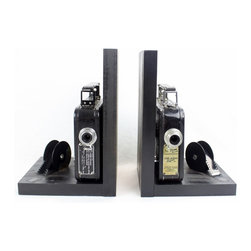 Vintage Camera Bookends - Kodak Cine Eight-25 - Movie Theater Decor - 2 Original Cine Eight-25 8mm Cameras, 8mm film and film reels – modified into a pair of bookends.