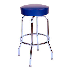 Richardson Seating - Richardson Seating Retro 1950s Backless Swivel Bar Stool with Blue Seat-24 Inch - Richardson Seating - Bar Stools - 1950BLU24 - Richardson Seating Floridian's Floridian collection ships within 2 business days as quick ship items. The 50's retro look bar stool collection is back with added comfort and stylish design. The Floridian collection are commercial bar stools made in the USA, and equally ideal for residential use.