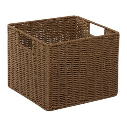 Honey Can DO - Parchment Cord Storage Crate, Cocoa - Keep clutter at bay with our paper rope crate basket. The recycled and repurposed parchment is formed into strap-like fibers, making the crate durable and eco-friendly. This crate provides endless storage options for any room of the house and its neutral color matches any decor.