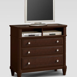 Horchow - East Bridge Entertainment Chest - Clean and sophisticated, this dynamic bedroom furniture features raised panels, reeded columns, perfectly tapered legs, and satin-nickel finished knobs. With a choice of storage bed or panel bed and an assortment of accent pieces, configuring the perfec...