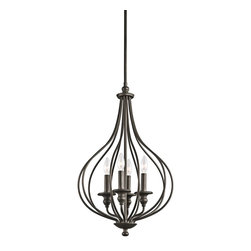 Kichler Lighting - Kichler Lighting Kensington Traditional Pendant Light X-ZO23334 - You can scour antique stores for that perfect vintage birdcage - or you can add a touch of that style when you bring this 4 light foyer pendant cage from the Kensington&trade: collection home. Slender ironwork ebbs and flows in an Olde Bronze&trade: finish, creating an elegant interpretation of a decorating classic.