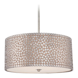 "Quoizel - Contemporary Quoizel Confetti 4-Light 22"" Wide Silver Pendant Light - The Confetti four light pendant has a gorgeous old silver finish that gives it a contemporary feel to the home. The pendant light also features confetti-like metal chips that surround the exterior shade. Inner part of the shade is an off-white color and holds a frosted diffuser for soft illumination. Old silver finish. Steel construction. Off-white linen shade. Frosted diffuser. Decorated with confetti-like metal chips. Takes four maximum 100 watt or equivalent medium base bulbs (not included). Includes 12 feet of wire. 22"" wide. 10 1/2"" high. Canopy is 5 1/2"" wide.  Old silver finish.  Steel construction.  Off-white linen shade.  Frosted diffuser.  Decorated with confetti-like metal chips.  Takes four maximum 100 watt or equivalent medium base bulbs (not included).  Includes 12 feet of wire.  22"" wide.  10 1/2"" high.  Canopy is 5 1/2"" wide.  Hang weight 28 lbs."