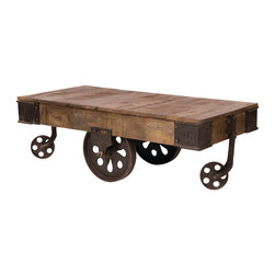 Four Hands - Rockwell Cart Coffee Table - Ready-to-roll vintage charm in a fun and functional coffee cart table! Natural mango wood and antiqued metals merge to make this loft-worthy coffee table that was inspired by old, forgotten factory carts.