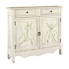 Powell - Powell White Hand-Painted 2-door Console - Powell White Hand-painted 2-door Console