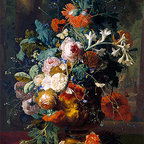 Vase of Flowers in a Park with Statue | Huysum | Canvas Print - Condition: Canvas Print - Unframed
