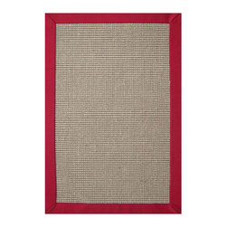 Acura Homes - Hand-woven Sisal Red Border Rug (8'9 x 12') - Add a pop of color to the floors in your home with this classic hand-woven sisal rug. Featuring s durable sisal pile with a bright red cotton border,this casual classic piece has a rubber backing for anchoring in place and a longer life.
