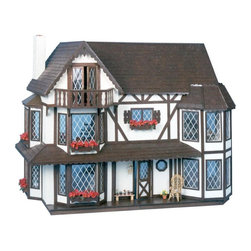 Greenleaf - Greenleaf Harrison Dollhouse Kit - 1 Inch Scale - GNL040 - Shop for Dollhouses and Dollhouse Furnishings from Hayneedle.com! As welcoming as it is regal the Greenleaf Harrison Dollhouse Kit - 1 Inch Scale makes an impeccable first impression. Ornately detailed to resemble a Tudor-style home its delicate trim abundant flower boxes and wide open porch show the kind of attention to detail that makes a dollhouse spectacular. Moveable partitions are used to create as many as nine large interior rooms with six bay windows and a hidden door to the third floor for a look that's as grand and charming as the exterior. This incredible home is sure to be a treasure in your collection for years to come. This dollhouse comes unassembled; approximate assembly time is 15 hours. It also comes unfinished and ready to paint. Paint not included. About GreenleafEstablished in 1947 Greenleaf Steel Rule Die Corp is a leading manufacturer of all-wood dollhouse kits furnishings and accessories. Located in Schenevus N.Y. Greenleaf is acknowledged by many in the miniatures industry for its outstanding design and superior quality. Greenleaf wooden dollhouse kits are an ideal project for collectors or families who want to create lasting keepsakes.