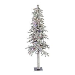 "Vickerman - Flocked Alpine 348T 150MU LED (5' x 27"") - 5' x 27"" Flocked Alpine Tree , 348 PVC tips and 150 Multi-color Italian LED Lights Utilizes energy-effiecent, durable LED technology."