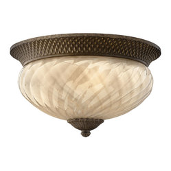 Hinkley Lighting - Plantation Flush 3-Light Outdoor - A Hinkley classic, the ornate Plantation collection features exceptional pineapple shaped optic glass, durable brass and aluminum construction and elaborate, decorative cast detailing to create a noble statement.